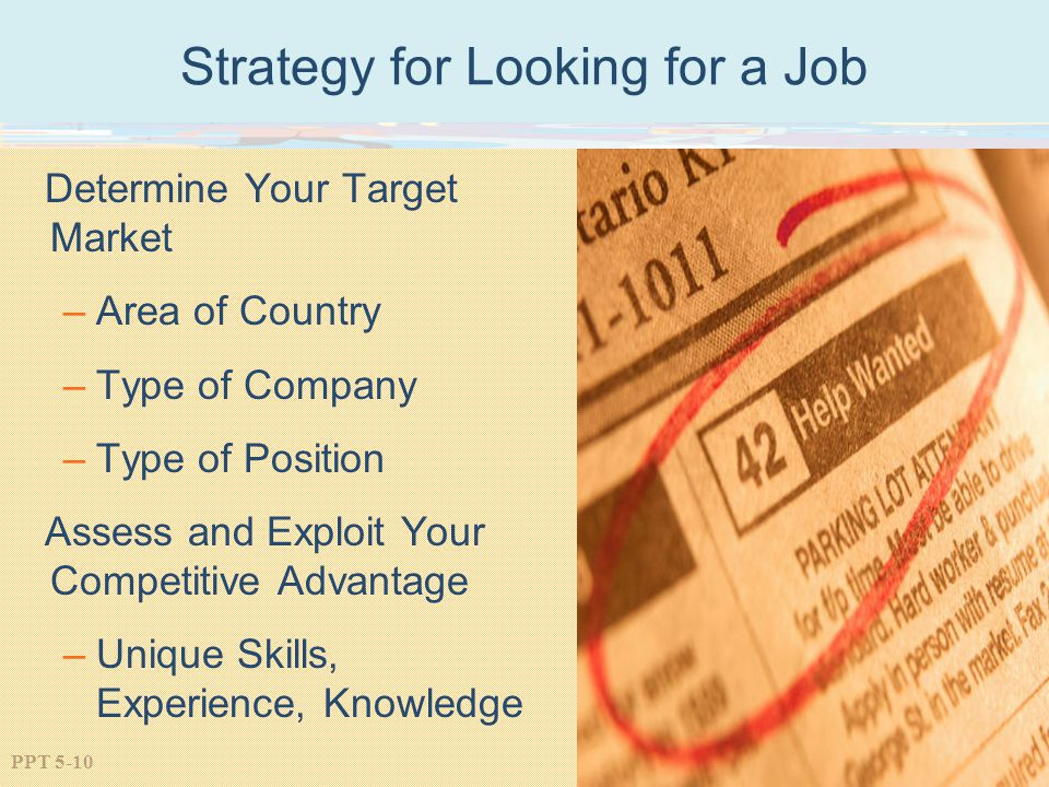 PPT 5-10 Strategy for Looking for a Job Determine Your Target Market –Area of Country –Type of Company –Type of Position Assess and Exploit Your Competitive Advantage –Unique Skills, Experience, Knowledge