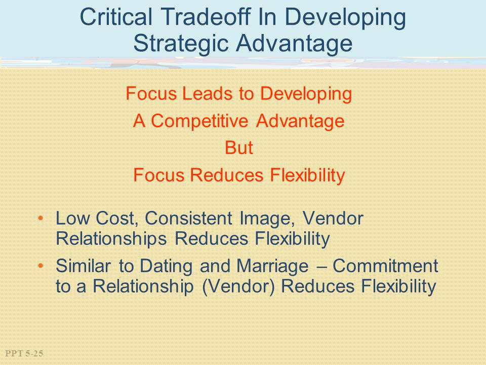 PPT 5-25 Critical Tradeoff In Developing Strategic Advantage Focus Leads to Developing A Competitive Advantage But Focus Reduces Flexibility Low Cost, Consistent Image, Vendor Relationships Reduces Flexibility Similar to Dating and Marriage – Commitment to a Relationship (Vendor) Reduces Flexibility