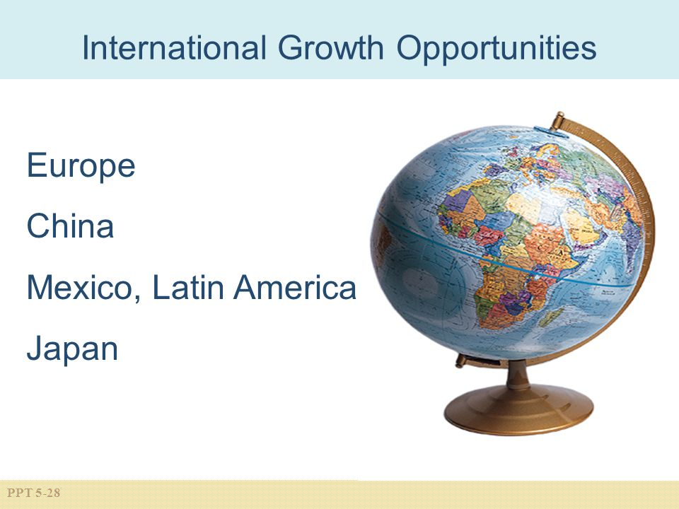 PPT 5-28 International Growth Opportunities Europe China Mexico, Latin America Japan