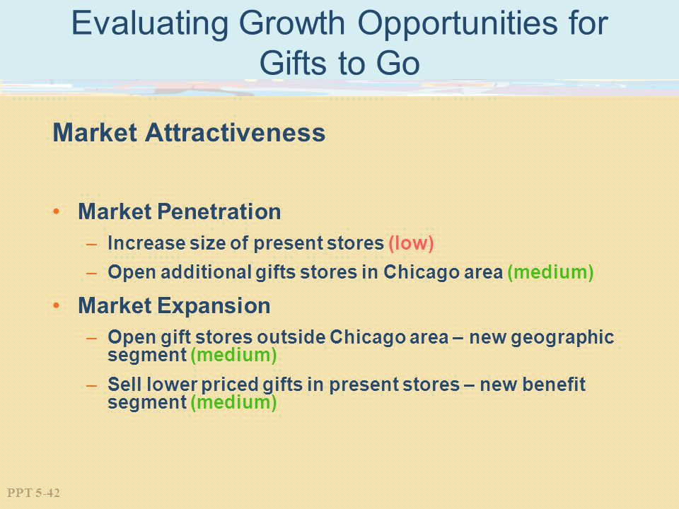 PPT 5-42 Evaluating Growth Opportunities for Gifts to Go Market Attractiveness Market Penetration –Increase size of present stores (low) –Open additio