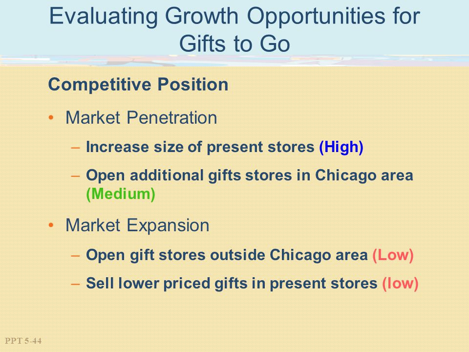 PPT 5-44 Evaluating Growth Opportunities for Gifts to Go Competitive Position Market Penetration –Increase size of present stores (High) –Open additional gifts stores in Chicago area (Medium) Market Expansion –Open gift stores outside Chicago area (Low) –Sell lower priced gifts in present stores (low)