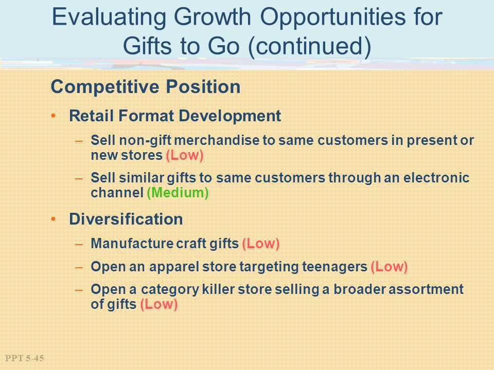 PPT 5-45 Evaluating Growth Opportunities for Gifts to Go (continued) Competitive Position Retail Format Development –Sell non-gift merchandise to same