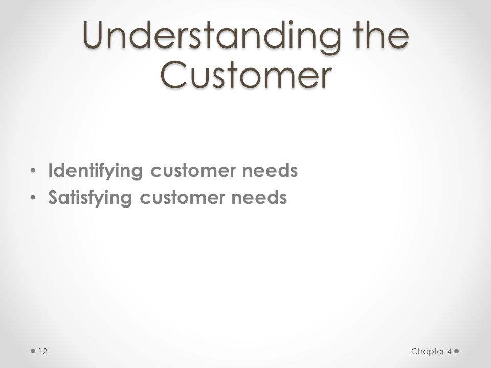 Chapter 412 Understanding the Customer Identifying customer needs Satisfying customer needs