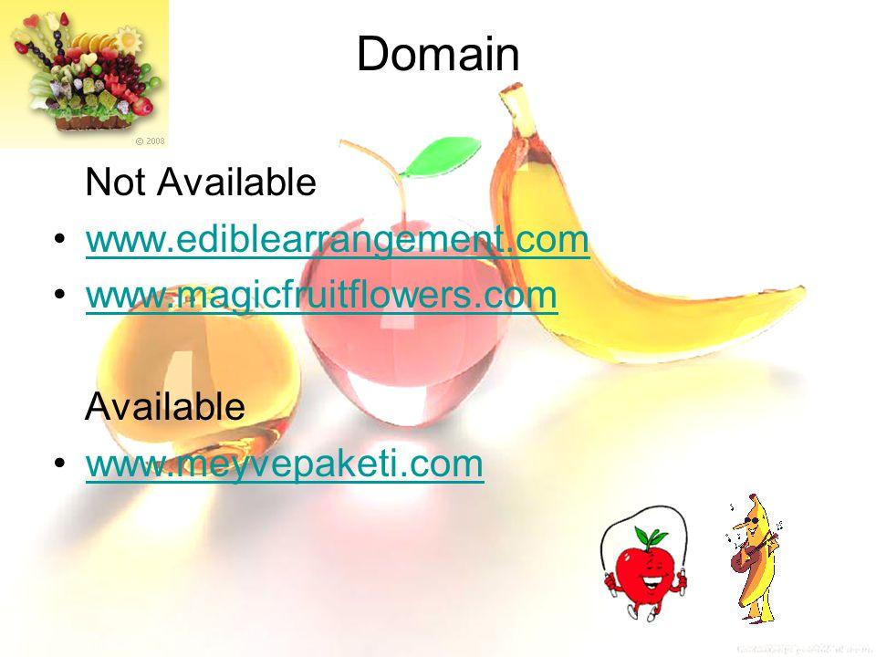 Domain Not Available www.ediblearrangement.com www.magicfruitflowers.com Available www.meyvepaketi.com