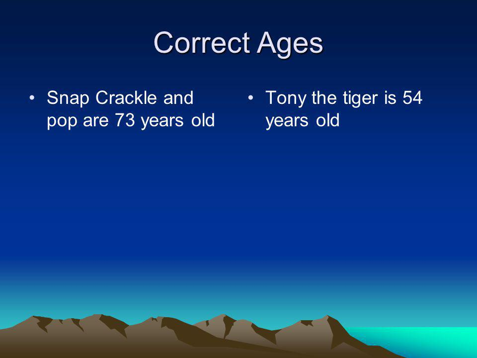 Correct Ages Snap Crackle and pop are 73 years old Tony the tiger is 54 years old
