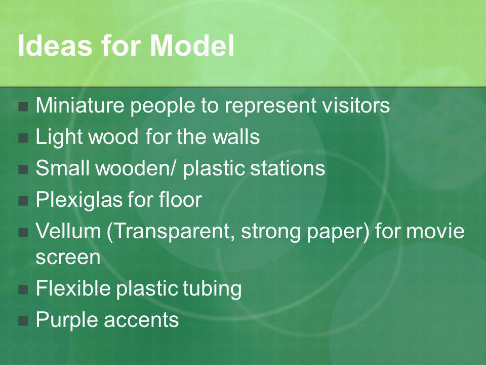 Ideas for Model Miniature people to represent visitors Light wood for the walls Small wooden/ plastic stations Plexiglas for floor Vellum (Transparent, strong paper) for movie screen Flexible plastic tubing Purple accents
