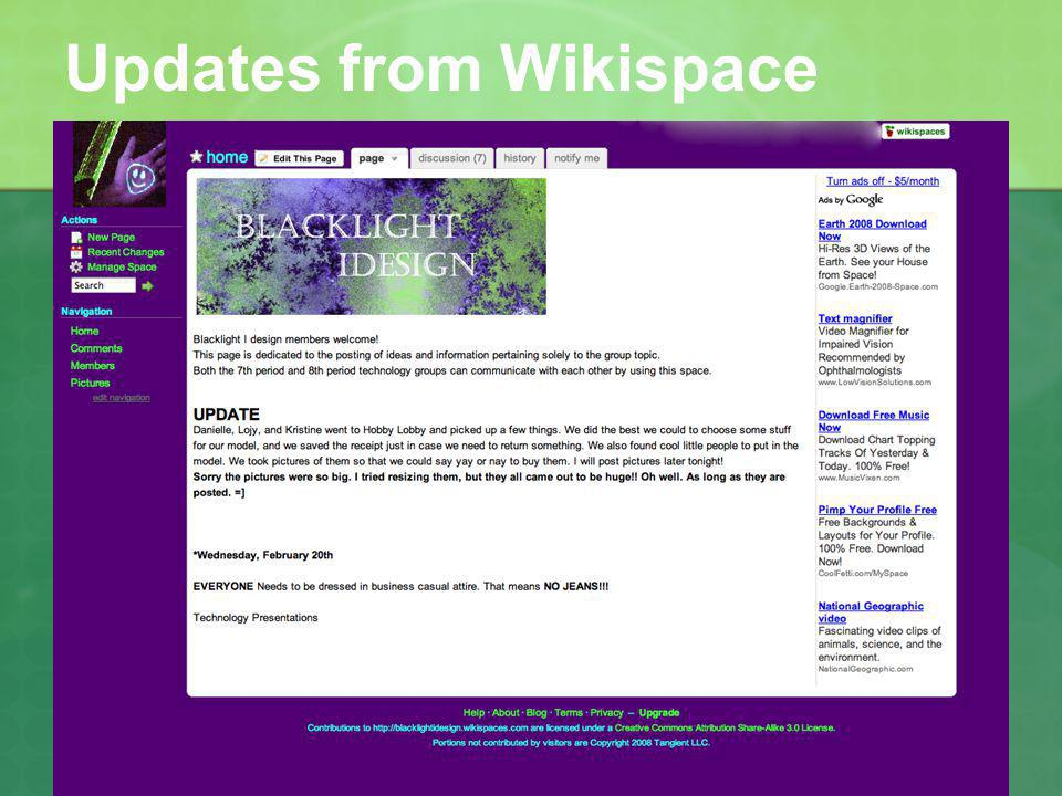 Updates from Wikispace