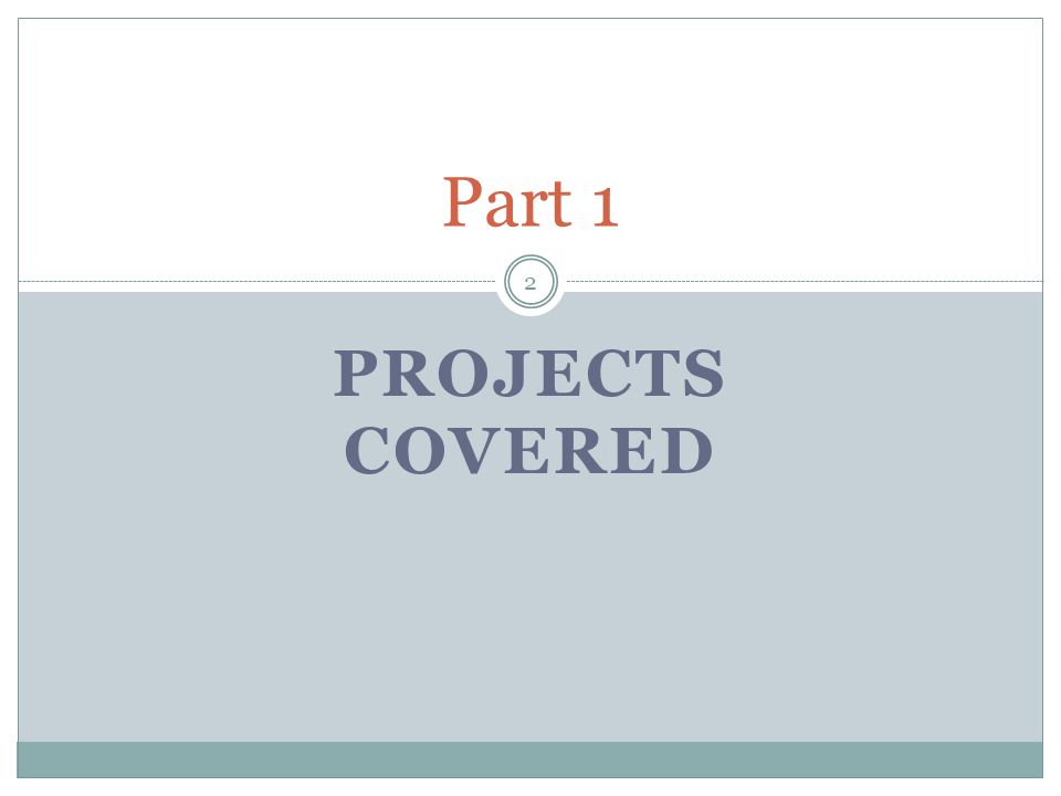 PROJECTS COVERED Part 1 2