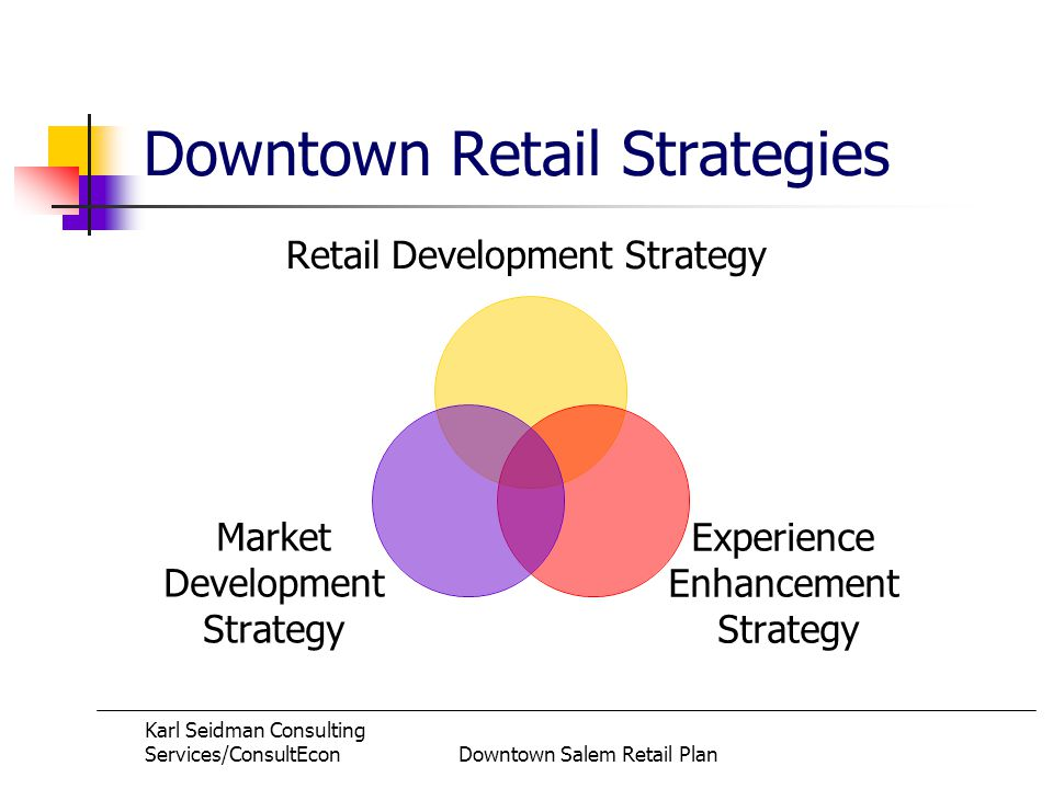 Karl Seidman Consulting Services/ConsultEconDowntown Salem Retail Plan Downtown Retail Strategies Retail Development Strategy Experience Enhancement Strategy Market Development Strategy
