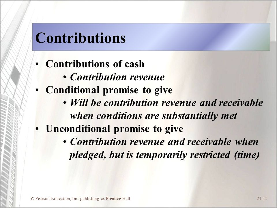 © Pearson Education, Inc. publishing as Prentice Hall21-15 Contributions Contributions of cash Contribution revenue Conditional promise to give Will b
