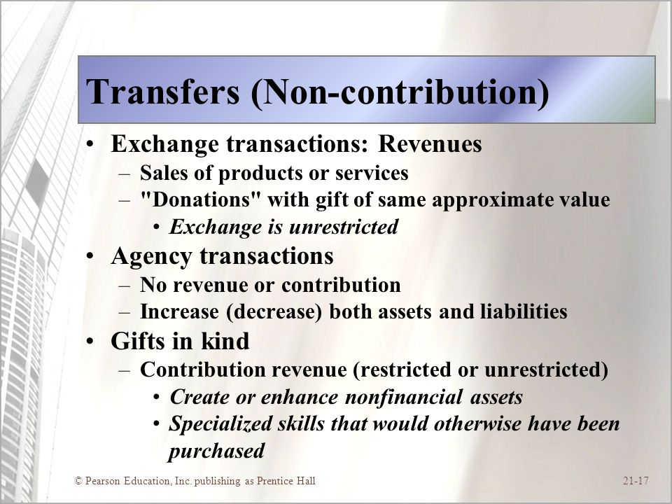 © Pearson Education, Inc. publishing as Prentice Hall21-17 Transfers (Non-contribution) Exchange transactions: Revenues –Sales of products or services