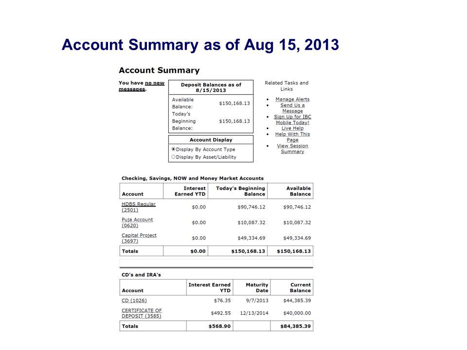 Account Summary as of Aug 15, 2013