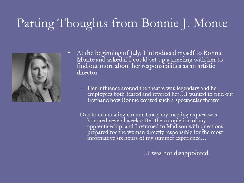 Parting Thoughts from Bonnie J.