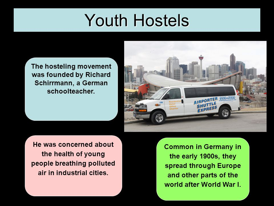 Youth Hostels The hosteling movement was founded by Richard Schirrmann, a German schoolteacher.