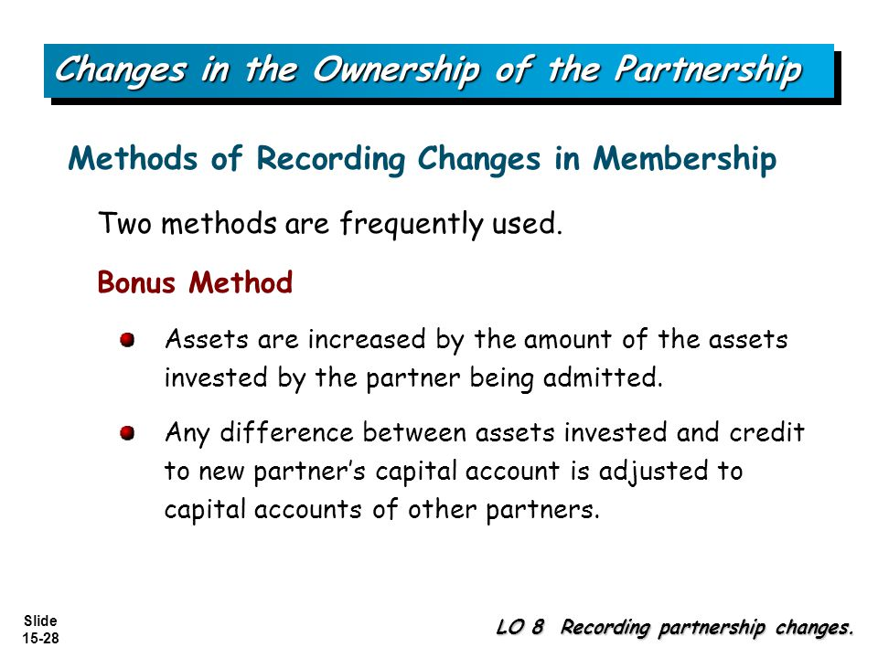 Slide 15-28 Two methods are frequently used. Bonus Method Assets are increased by the amount of the assets invested by the partner being admitted. Any