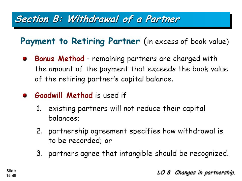 Slide 15-49 Bonus Method - remaining partners are charged with the amount of the payment that exceeds the book value of the retiring partners capital balance.