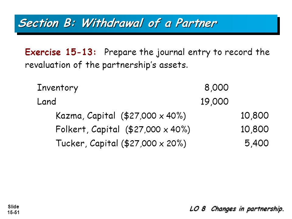 Slide 15-51 Section B: Withdrawal of a Partner LO 8 Changes in partnership.
