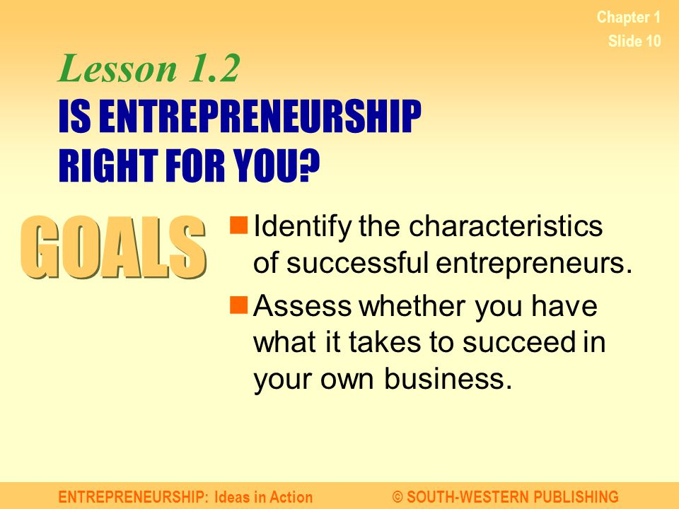 ENTREPRENEURSHIP: Ideas in Action© SOUTH-WESTERN PUBLISHING Chapter 1 Slide 10 Lesson 1.2 IS ENTREPRENEURSHIP RIGHT FOR YOU? Identify the characterist