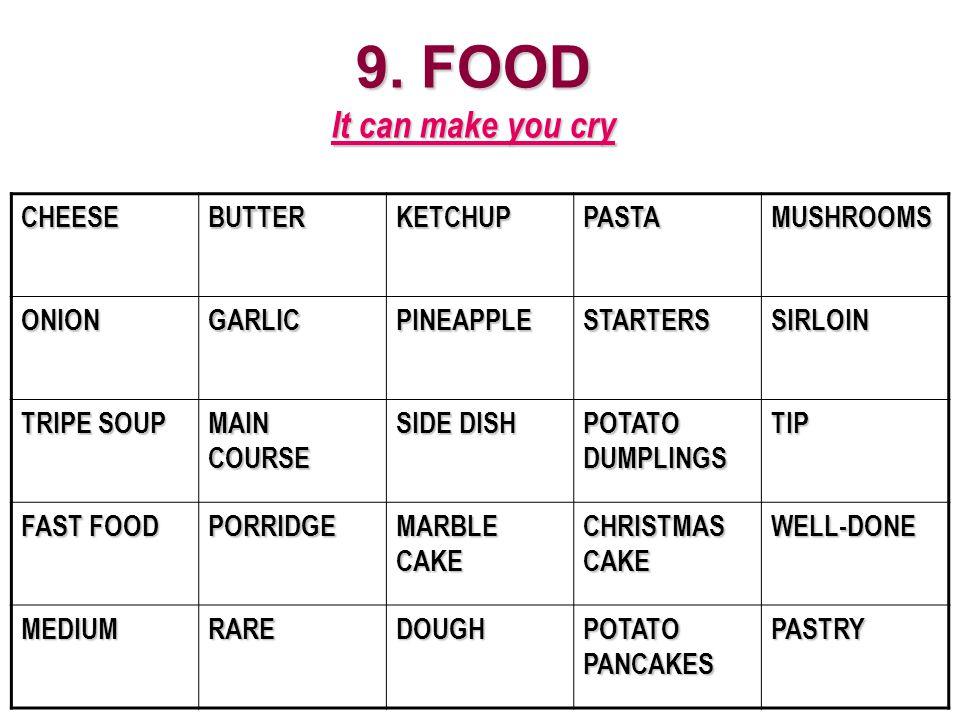 9. FOOD It can make you cry CHEESEBUTTERKETCHUPPASTAMUSHROOMS ONIONGARLICPINEAPPLESTARTERSSIRLOIN TRIPE SOUP MAIN COURSE SIDE DISH POTATO DUMPLINGS TI