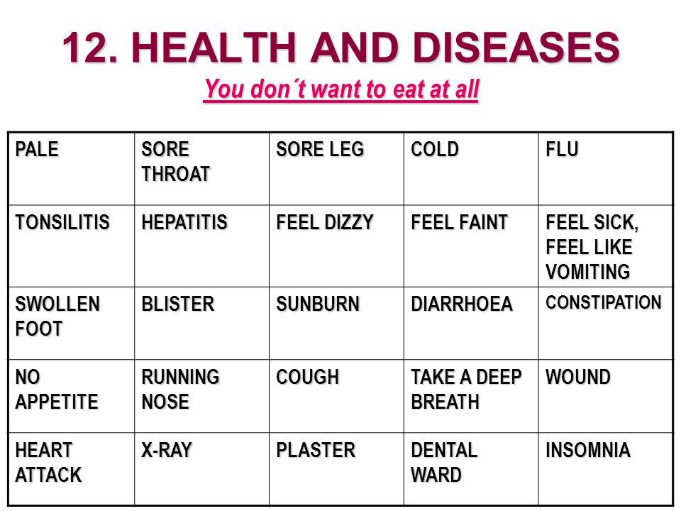 12. HEALTH AND DISEASES You don´t want to eat at all PALE SORE THROAT SORE LEG COLDFLU TONSILITISHEPATITIS FEEL DIZZY FEEL FAINT FEEL SICK, FEEL LIKE