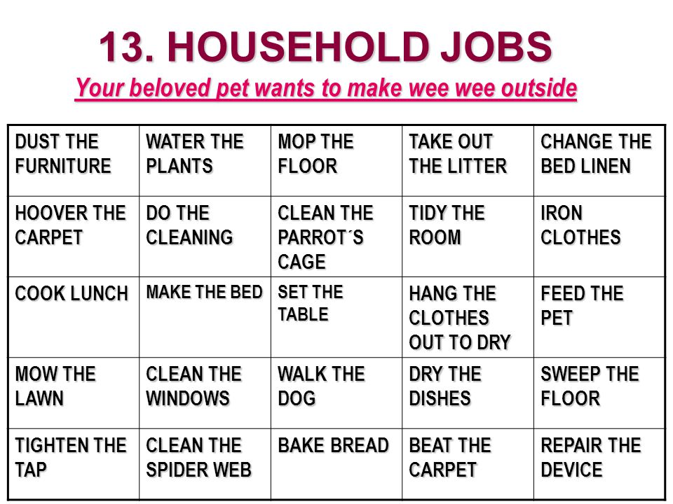 13. HOUSEHOLD JOBS Your beloved pet wants to make wee wee outside DUST THE FURNITURE WATER THE PLANTS MOP THE FLOOR TAKE OUT THE LITTER CHANGE THE BED