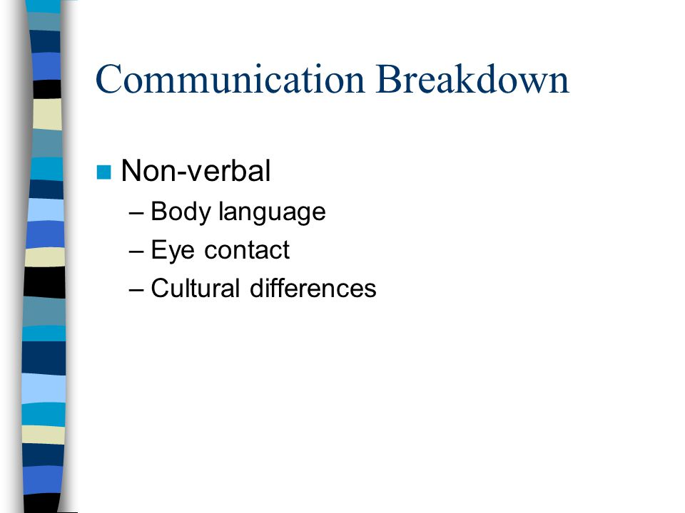 Communication Breakdown Non-verbal –Body language –Eye contact –Cultural differences