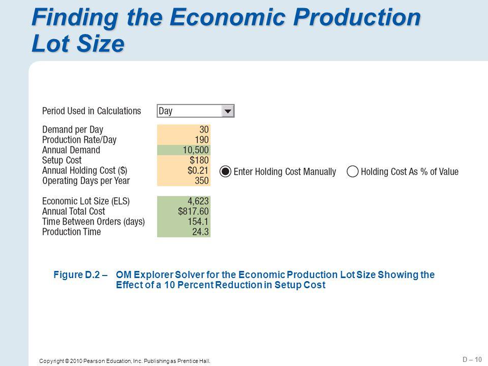 D – 10 Copyright © 2010 Pearson Education, Inc. Publishing as Prentice Hall. Finding the Economic Production Lot Size Figure D.2 –OM Explorer Solver f
