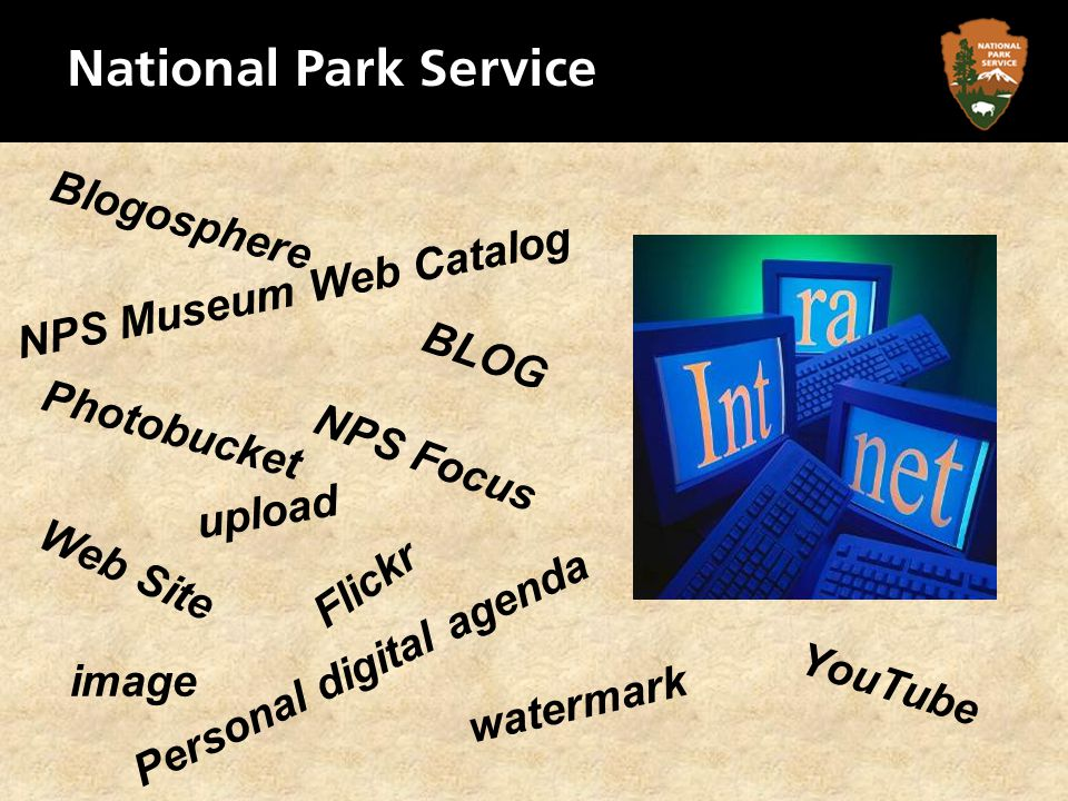 BLOG Personal digital agenda Web Site Photobucket YouTube Blogosphere Flickr upload image watermark NPS Focus NPS Museum Web Catalog