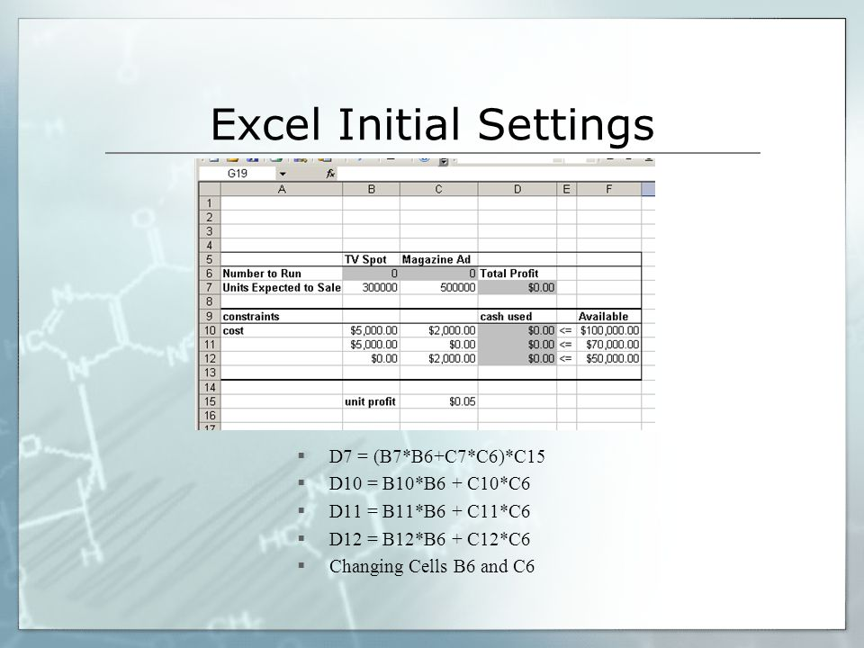 Excel Initial Settings D7 = (B7*B6+C7*C6)*C15 D10 = B10*B6 + C10*C6 D11 = B11*B6 + C11*C6 D12 = B12*B6 + C12*C6 Changing Cells B6 and C6