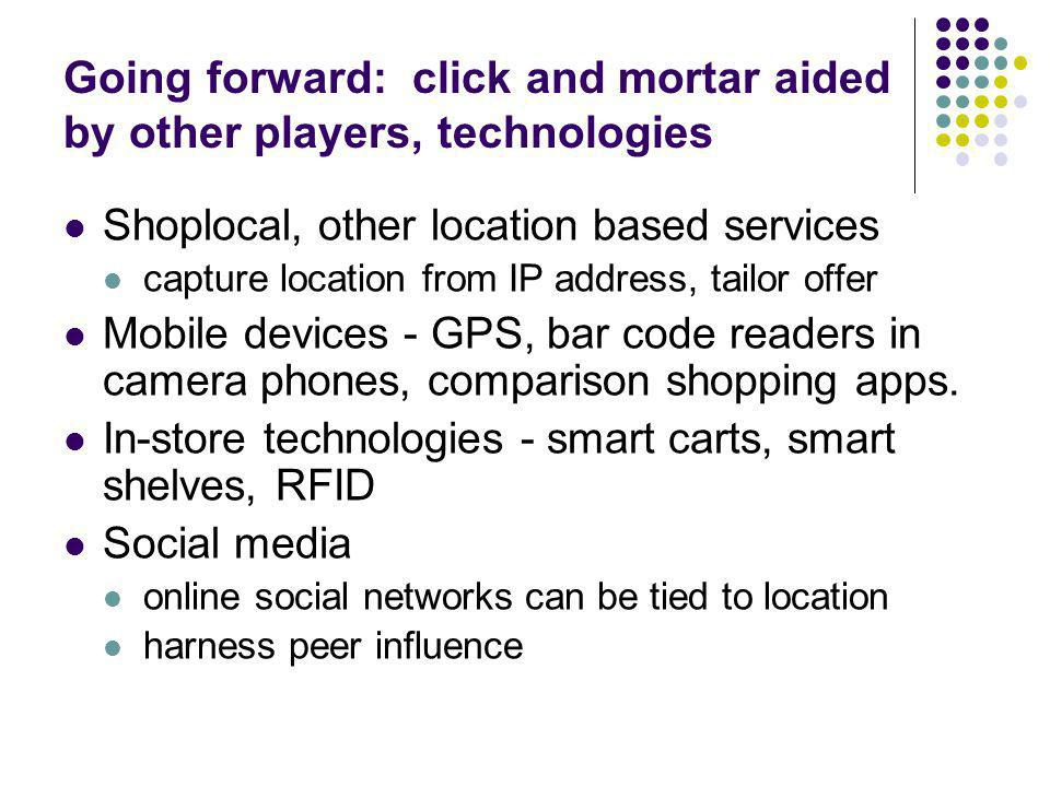 Going forward: click and mortar aided by other players, technologies Shoplocal, other location based services capture location from IP address, tailor offer Mobile devices - GPS, bar code readers in camera phones, comparison shopping apps.