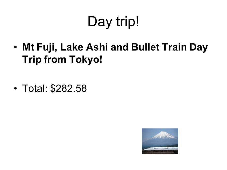 Day trip! Mt Fuji, Lake Ashi and Bullet Train Day Trip from Tokyo! Total: $282.58