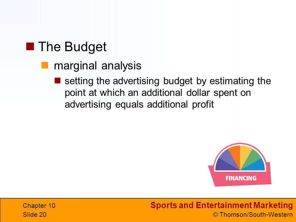 Sports and Entertainment Marketing © Thomson/South-Western Chapter 10 Slide 20 marginal analysis setting the advertising budget by estimating the poin