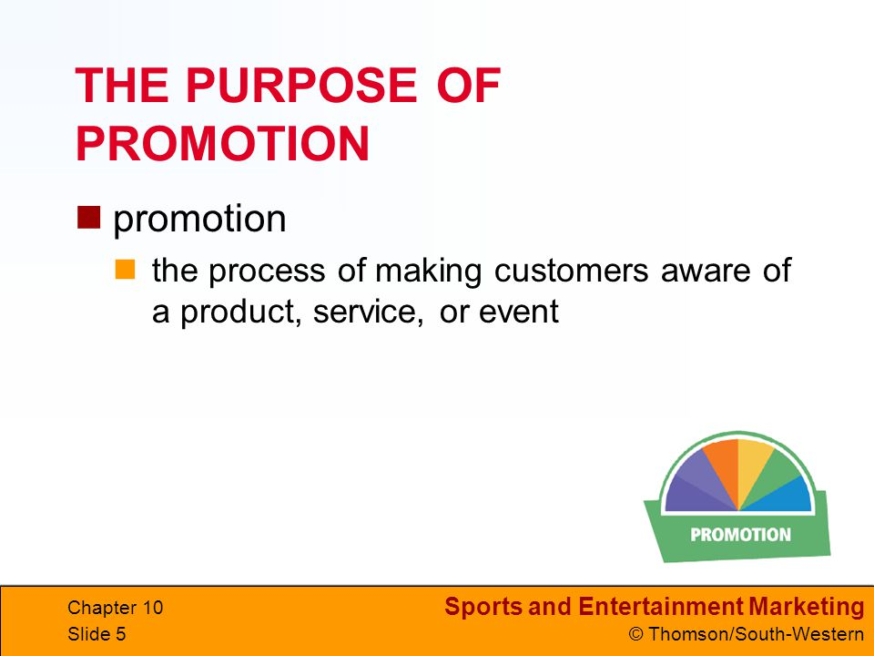 Sports and Entertainment Marketing © Thomson/South-Western Chapter 10 Slide 46 Consumer Sales Promotions consumer sales promotion directed at the final consumer temporary price reductions price-pak deals coupons special gifts contests rebates