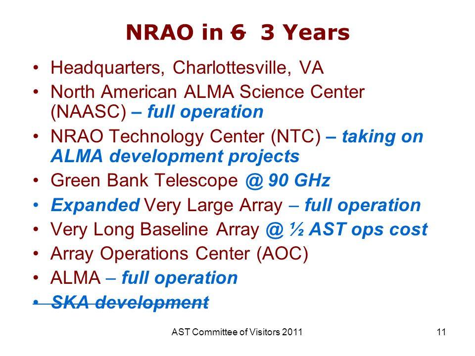 AST Committee of Visitors 201111 NRAO in 6 3 Years Headquarters, Charlottesville, VA North American ALMA Science Center (NAASC) – full operation NRAO