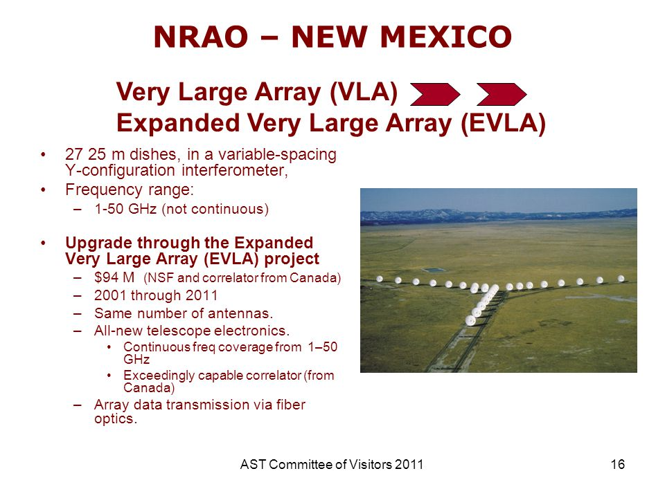 AST Committee of Visitors 201116 NRAO – NEW MEXICO 27 25 m dishes, in a variable-spacing Y-configuration interferometer, Frequency range: –1-50 GHz (n