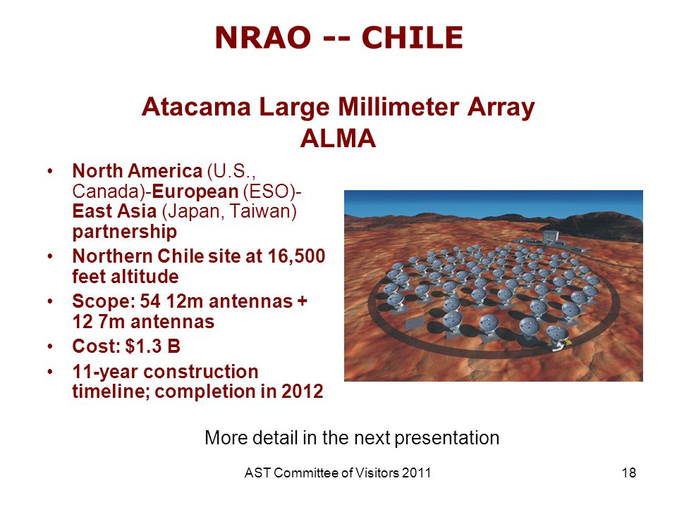 AST Committee of Visitors 201118 NRAO -- CHILE North America (U.S., Canada)-European (ESO)- East Asia (Japan, Taiwan) partnership Northern Chile site