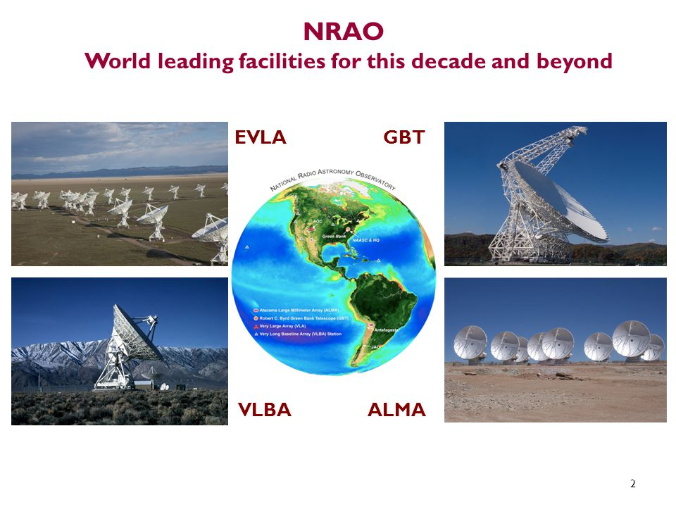 NRAO World leading facilities for this decade and beyond 2 EVLA VLBAALMA GBT