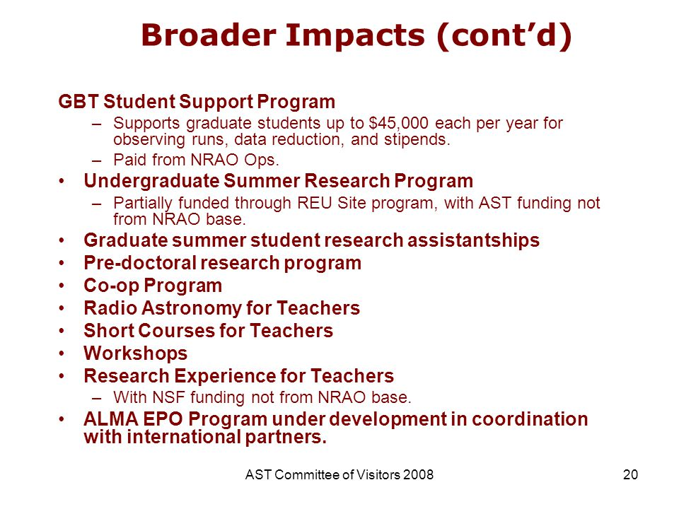 AST Committee of Visitors 200820 Broader Impacts (contd) GBT Student Support Program –Supports graduate students up to $45,000 each per year for obser