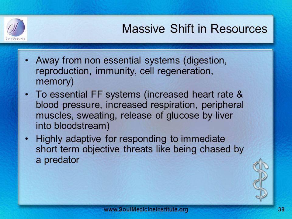 www.SoulMedicineInstitute.org39 Massive Shift in Resources Away from non essential systems (digestion, reproduction, immunity, cell regeneration, memory) To essential FF systems (increased heart rate & blood pressure, increased respiration, peripheral muscles, sweating, release of glucose by liver into bloodstream) Highly adaptive for responding to immediate short term objective threats like being chased by a predator