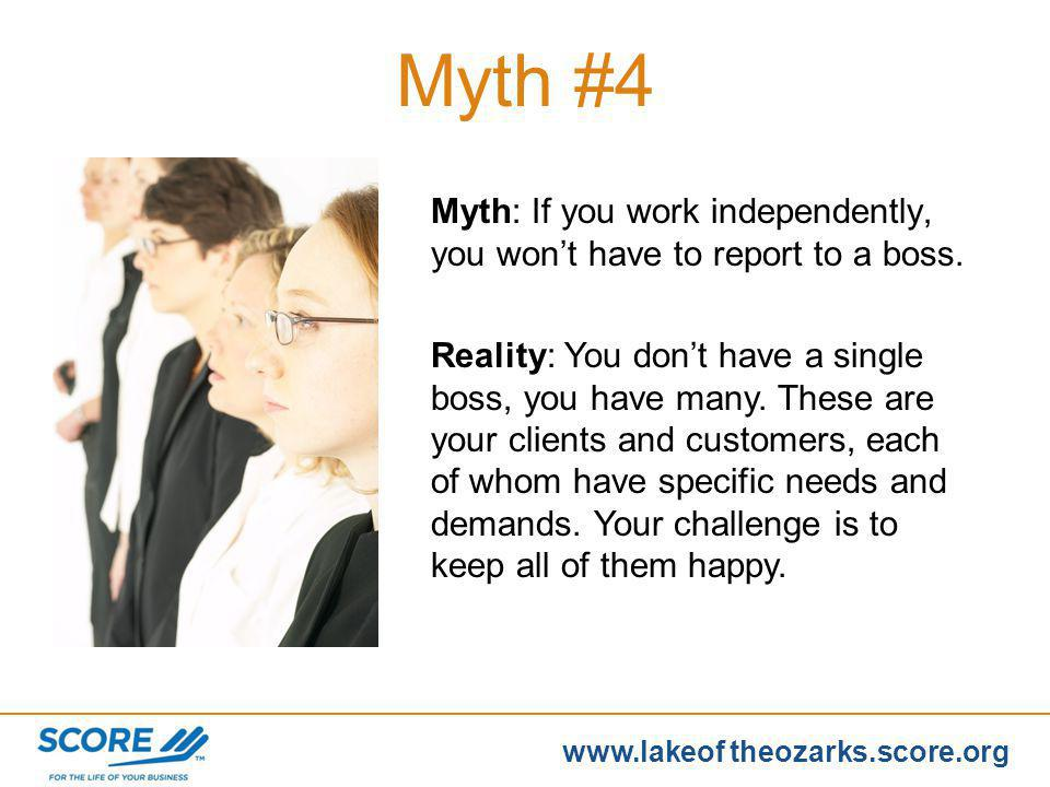 www.score.org www.lakeof theozarks.score.org Myth #3 Myth: Youll be able to deduct everything so you dont have to pay taxes. Reality: Taxes are based