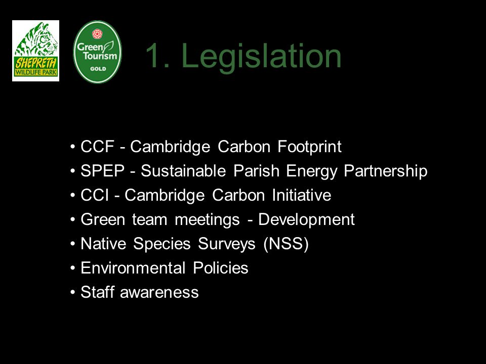 1. Legislation CCF - Cambridge Carbon Footprint SPEP - Sustainable Parish Energy Partnership CCI - Cambridge Carbon Initiative Green team meetings - D