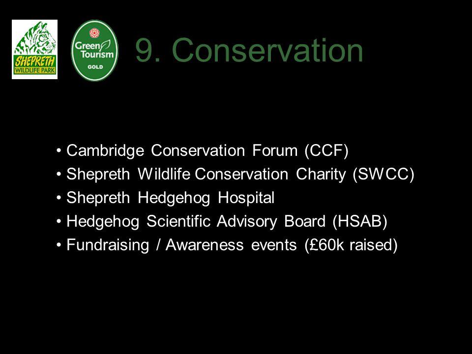 9. Conservation Cambridge Conservation Forum (CCF) Shepreth Wildlife Conservation Charity (SWCC) Shepreth Hedgehog Hospital Hedgehog Scientific Adviso