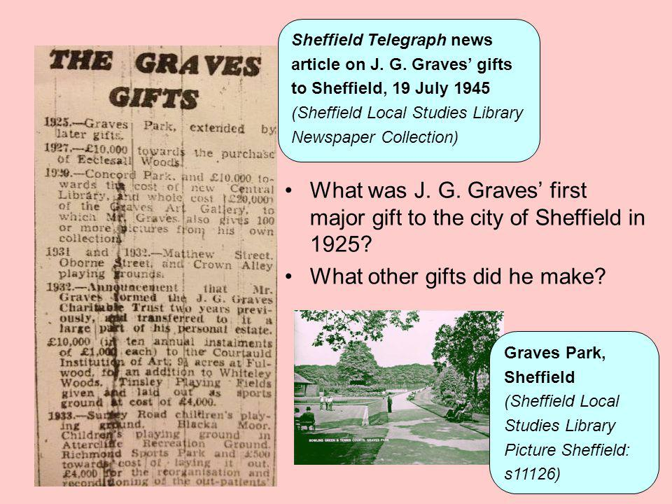 Sheffield Telegraph news article on J. G. Graves gifts to Sheffield, 19 July 1945 (Sheffield Local Studies Library Newspaper Collection) What was J. G