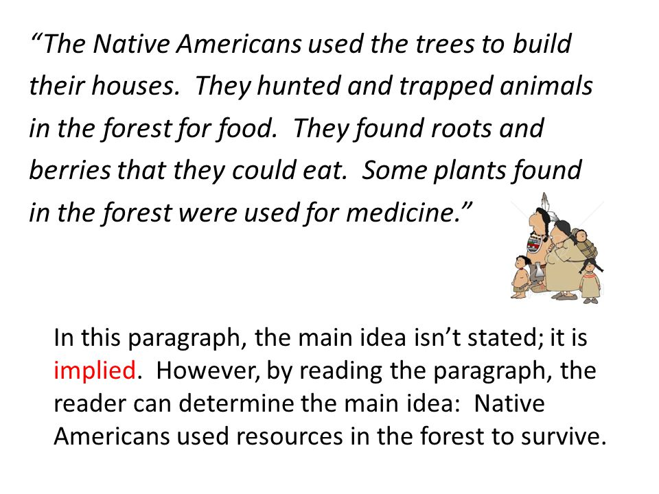 The Native Americans used the trees to build their houses. They hunted and trapped animals in the forest for food. They found roots and berries that t