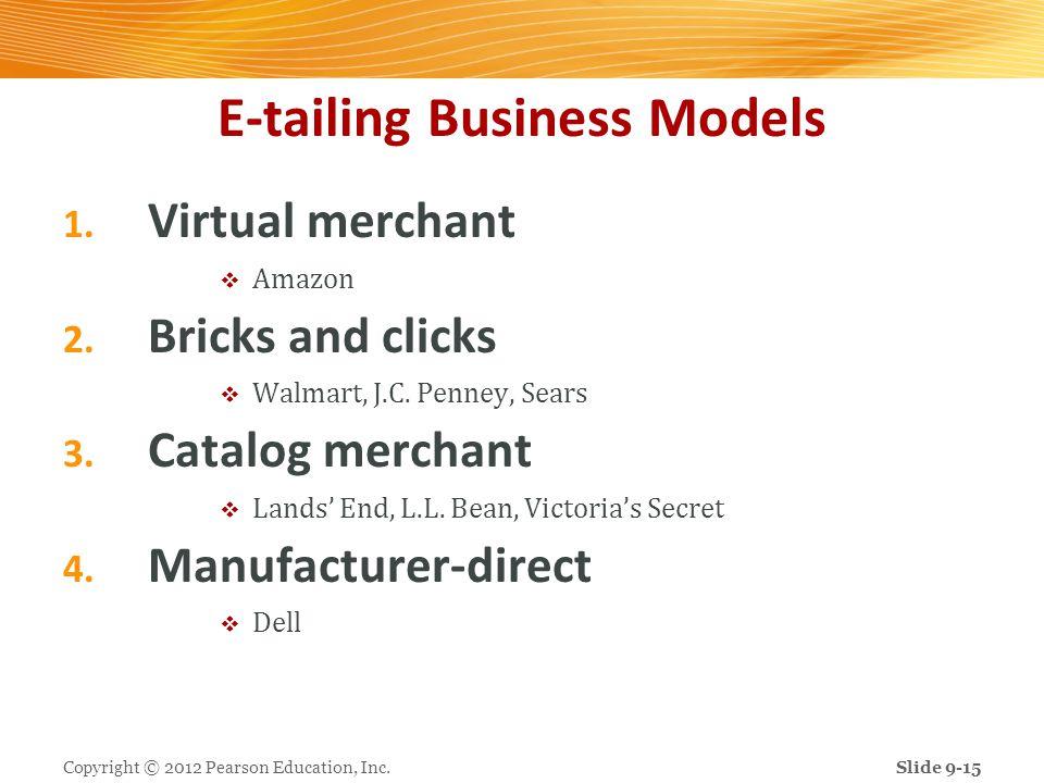 E-tailing Business Models 1. Virtual merchant Amazon 2. Bricks and clicks Walmart, J.C. Penney, Sears 3. Catalog merchant Lands End, L.L. Bean, Victor