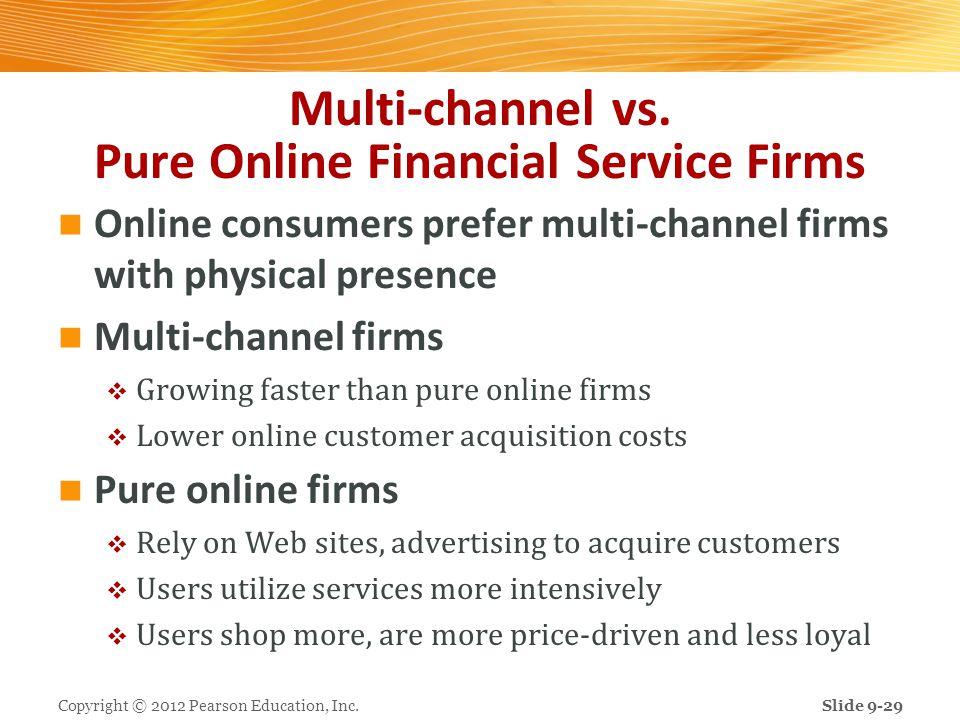 Multi-channel vs. Pure Online Financial Service Firms Online consumers prefer multi-channel firms with physical presence Multi-channel firms Growing f