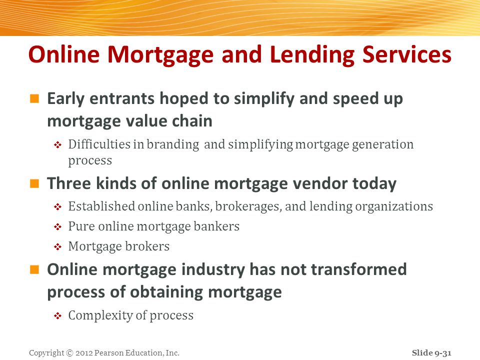 Online Mortgage and Lending Services Early entrants hoped to simplify and speed up mortgage value chain Difficulties in branding and simplifying mortg