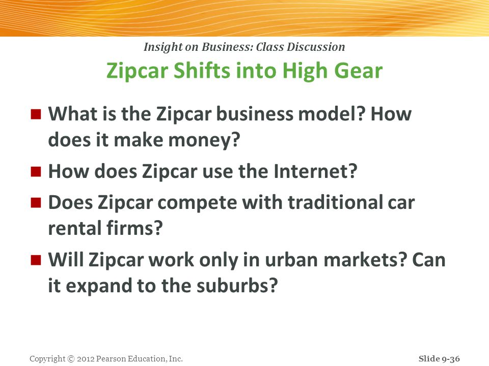 Insight on Business: Class Discussion Zipcar Shifts into High Gear What is the Zipcar business model? How does it make money? How does Zipcar use the
