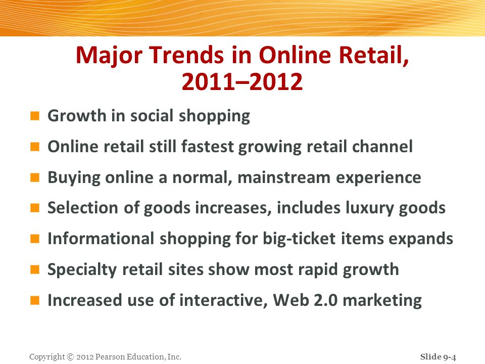 Major Trends in Online Retail, 2011–2012 Growth in social shopping Online retail still fastest growing retail channel Buying online a normal, mainstre