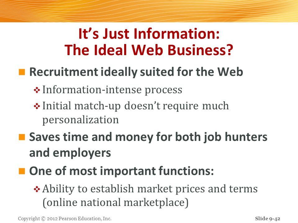 Its Just Information: The Ideal Web Business? Recruitment ideally suited for the Web Information-intense process Initial match-up doesnt require much